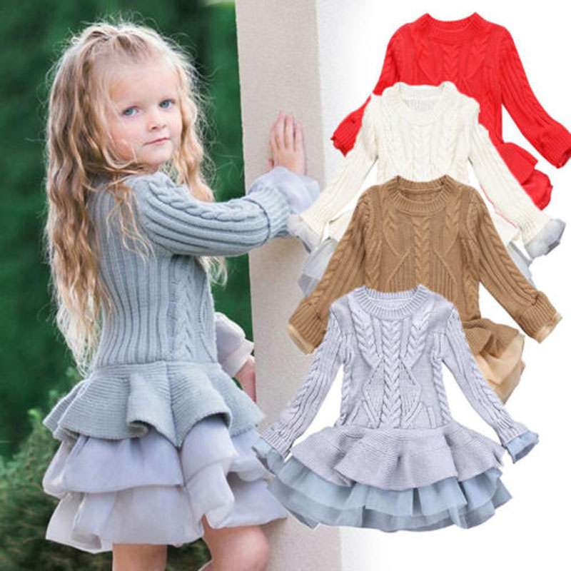 Focusnorm New Kids Girls Tutu Dress Winter Knit Sweater Long Sleeve Soft Dress Party Pageant Formal Dresses