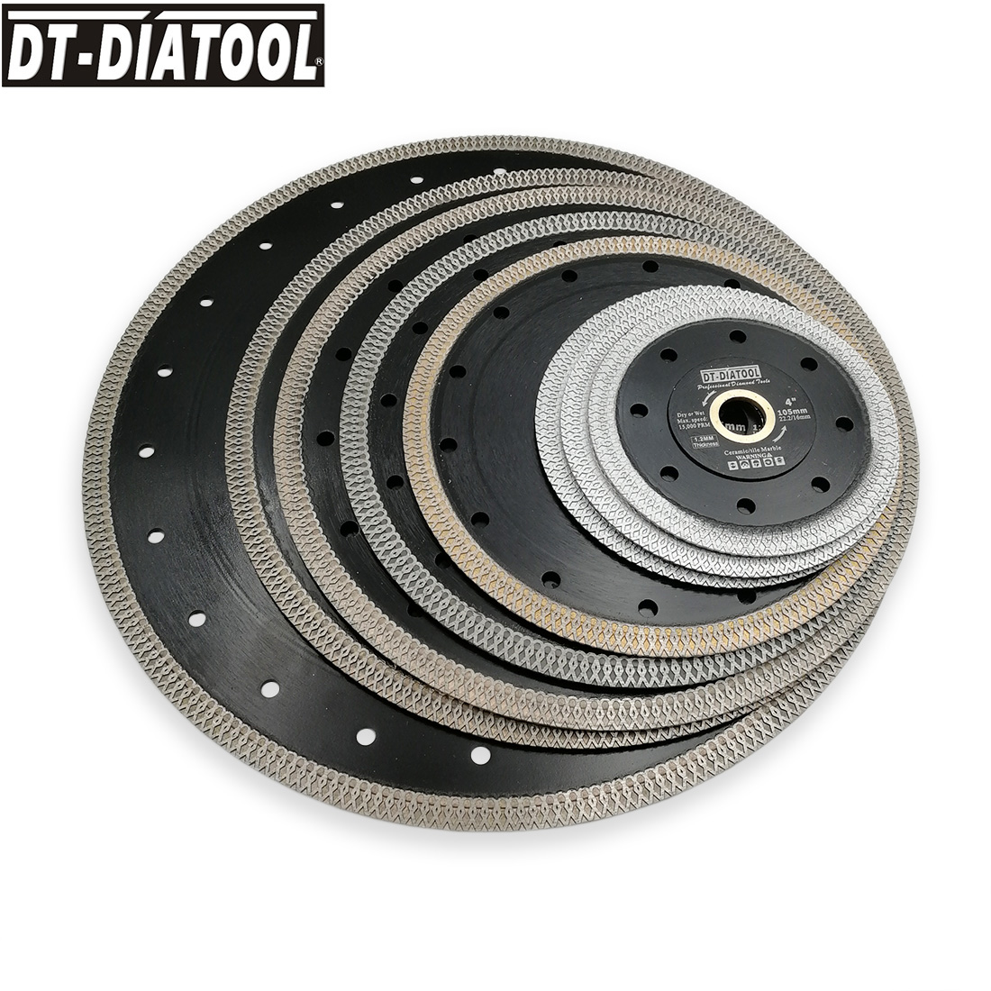 DT-DIATOOL 2pcs/pk Premium Diamond Wheel Cutting Disc X Mesh Turbo Rim Segment Saw Blades Marble Dia 4