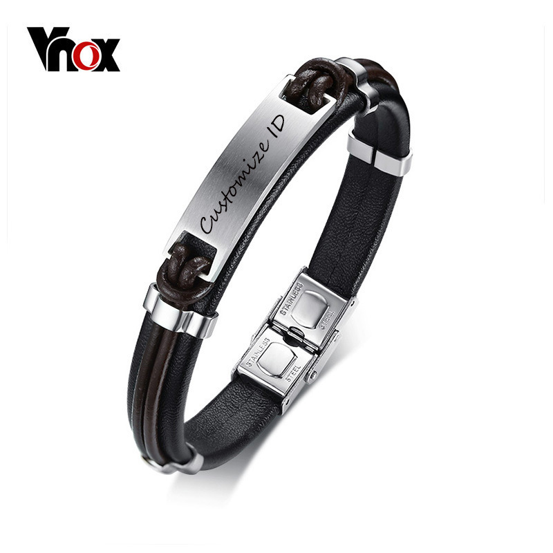 Vnox Black Genuine Leather Bracelet for Men Free Customize ID Bracelet Stainless Steel Male Street Party Personalized Jewelry
