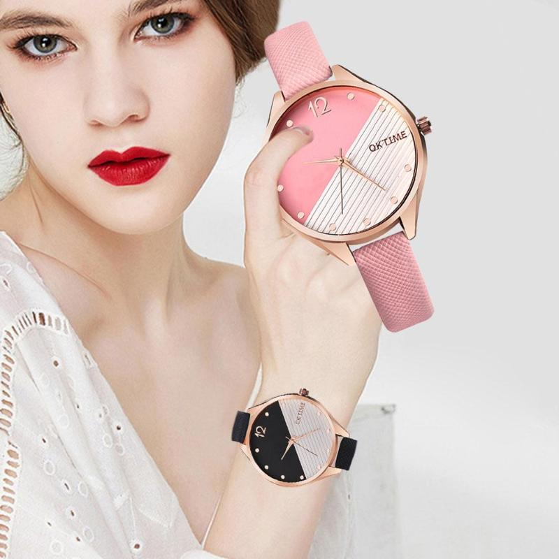 Новый для женщин Сращивание Цвет часы кожаный ремешок для женщин Аналоговые кварцевые наручные часы Женская обувь подарки Relogios Feminino