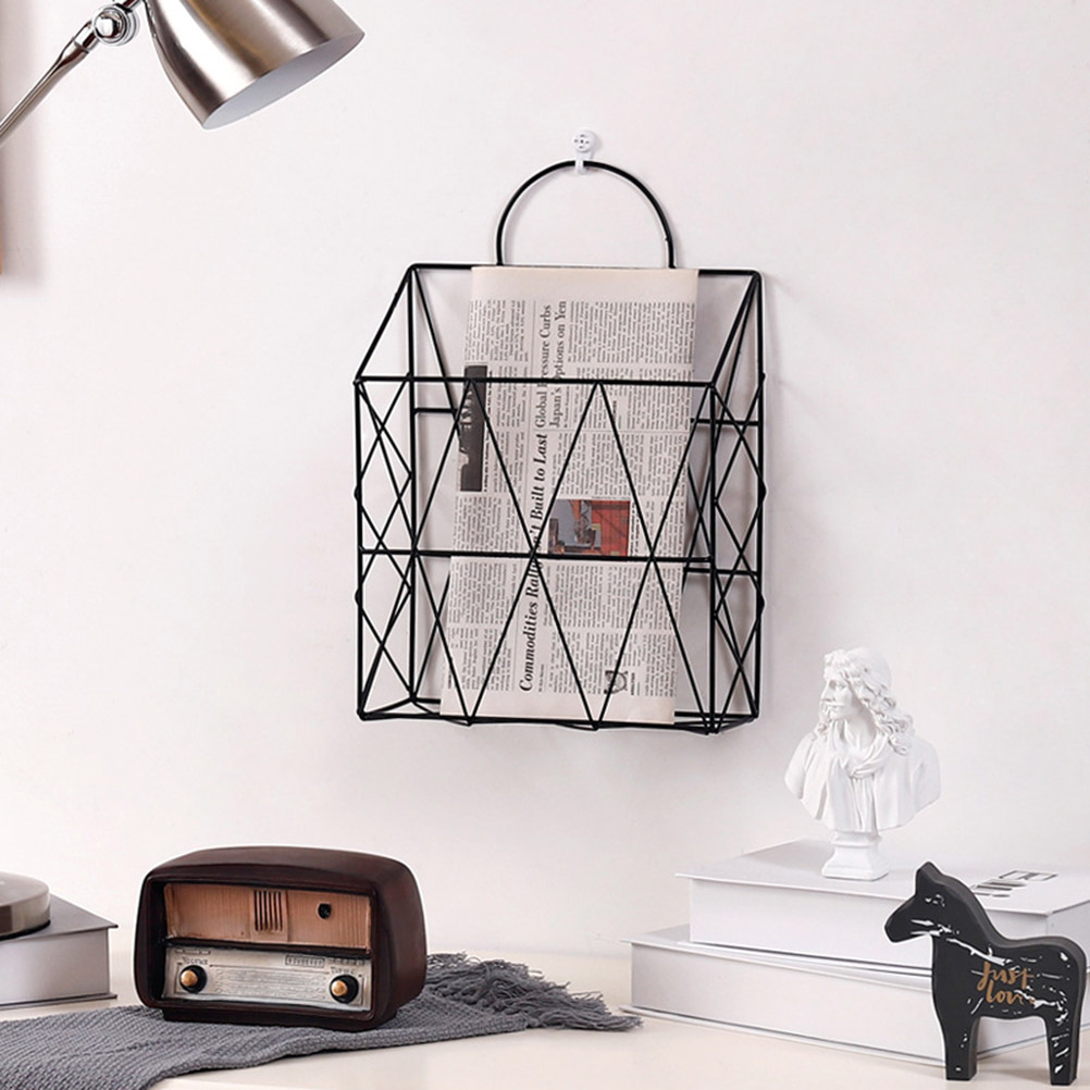 Bathroom Shelves Bathroom Hardware Reliable 1pc Metal Basket Wall-mounted Nordic Ins File Book Rack Newspaper Magazine Rack Display Stand Holder Shelf Storage Container