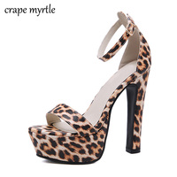 platform sandals women heels ankle strap heels extreme high heel sandals wedding shoes office sandals leopard shoes YMA707