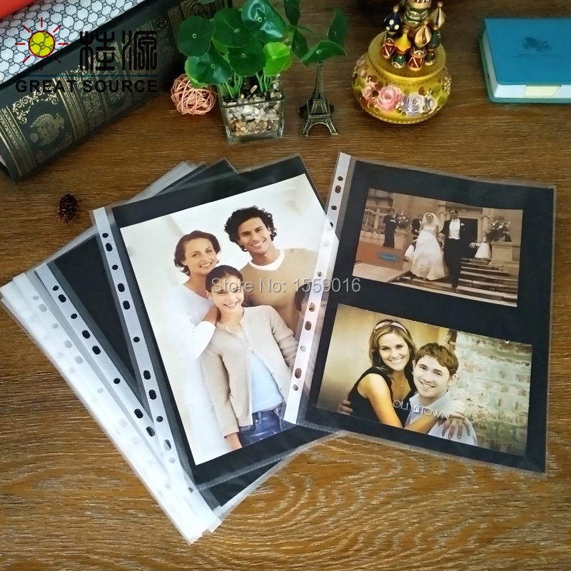 Album Leaf DIY Photo Punched Pocket With 300g Black Paper Card Board Nonpoisonous Tasteless For A4 Binder Folder