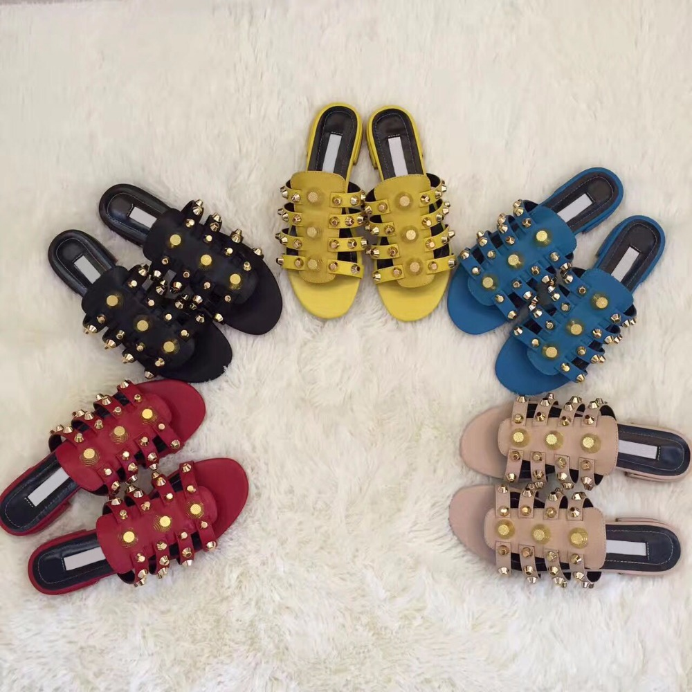 Sandales Chaussures D'été Glissent Plat D'or Pantoufles Robe Bleu En Mode Sur Dames Sangles Lisse Cuir as Femmes Goujons As Picture Chaude Picture Pp0TP6qAw