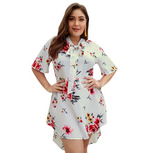 MagicPark XL-4XL Women Summer Dress Trumpet Dye-tie V-neck Floral Print Short Sleeve Plus Size 2019 Original Design Dresses цена 2017