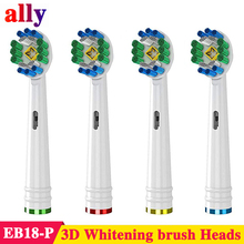 4X EB18 toothbrush heads For Braun Oral B Vitality Triumph D100 D12 D16 3D Whitening Replacement Electric Toothbrush Heads цена и фото