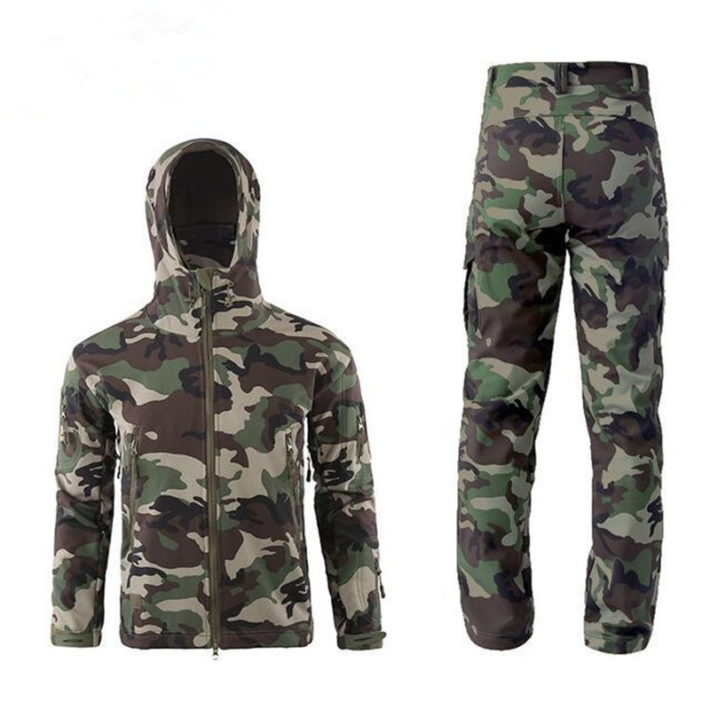 Hot Winter Men Outdoor Camping Hunting Hiking Camouflage Sets Tactical Waterproof Shark Skin Soft Shell Fleece