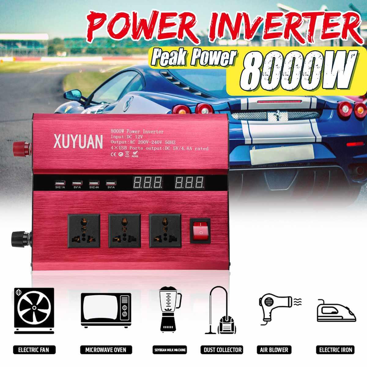 Solar Power Inverter 8000W  LED Power Sine Wave Converter DC 12V/24V To AC 220V/110VSolar Power Inverter 8000W  LED Power Sine Wave Converter DC 12V/24V To AC 220V/110V