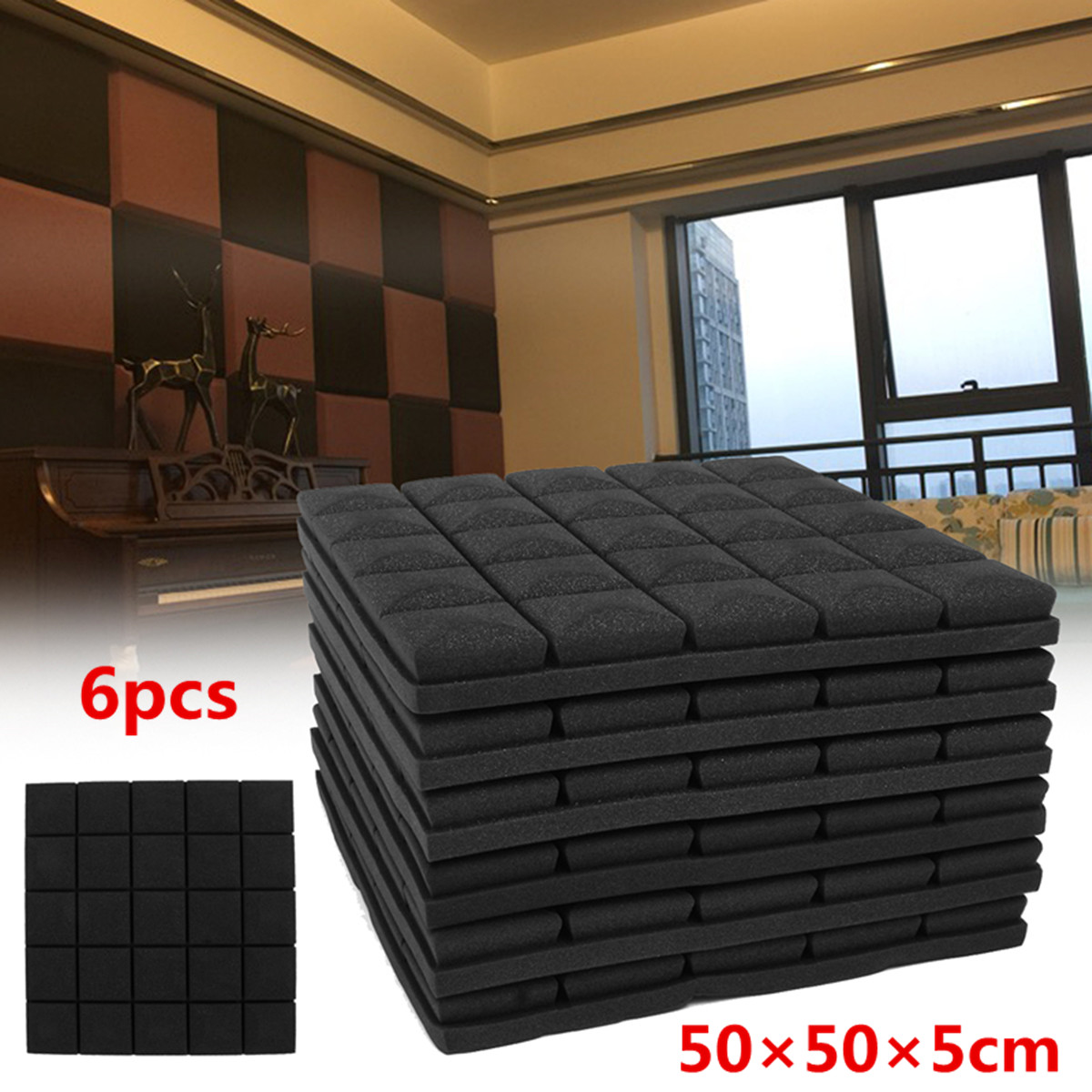 6Pcs 50x50x5cm Soundproof Acoustic Foam Wedge Studio Sound Absorption Wall Panel Polyurethane sound absorption coefficient analysis