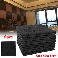 6Pcs 50x50x5cm Soundproof Acoustic Foam Wedge Studio Sound Absorption Wall Panel Polyurethane