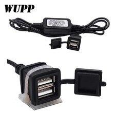 WUPP Waterproof 5V 3A Car Motorcycle Dual USB Charger Power Supply Socket Adapter Charging DC12V