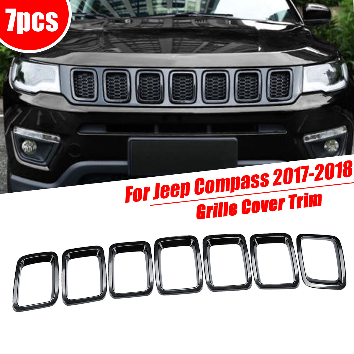 For Jeep For Compass 2017 2018 Chrome ABS Car Front Grille Bumpers Protectors Cover Trim Car Front Bar Grille Cover Car-styling