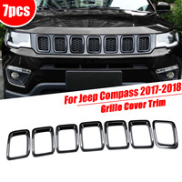 For Jeep for Compass 2017 2018 Chrome ABS Car Front Grille Bumpers Protectors Cover Trim Car Front Bar Grille Cover Car styling