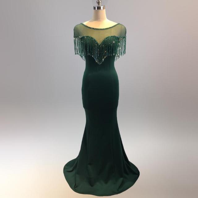 SVKSBEVS 2019 Illusion O cou cristal gland sirène robes longues élégant manches courtes dos nu fête Maxi robe