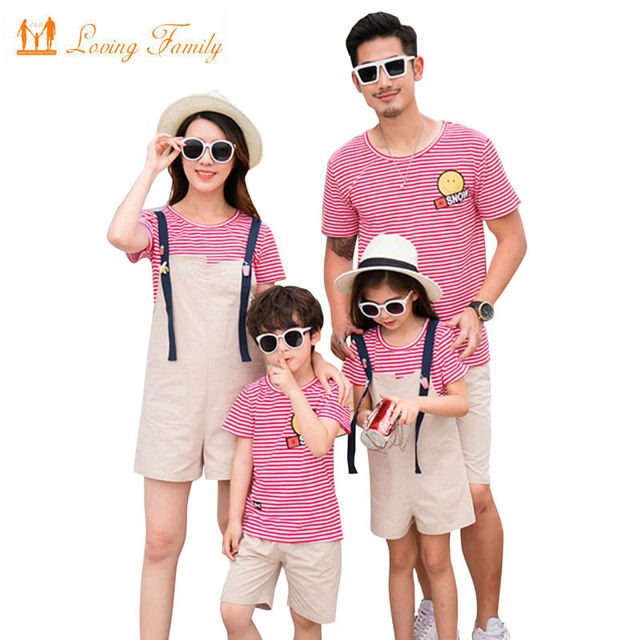 d78fc91bb855a 2019 Striped Mother Daughter Clothes Set Family Matching Outfits Father Son  T Shirt And Short Pants Clothes Sets Family Clothing