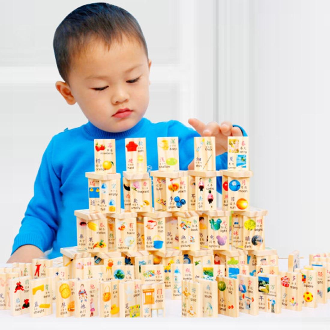 100 Pcs Kinder Früh Pädagogisches Spielzeug Holz Domino Blöcke Action Spiele Für Lernen Pädagogisches Spielzeug Für Kinder Exzellente QualitäT