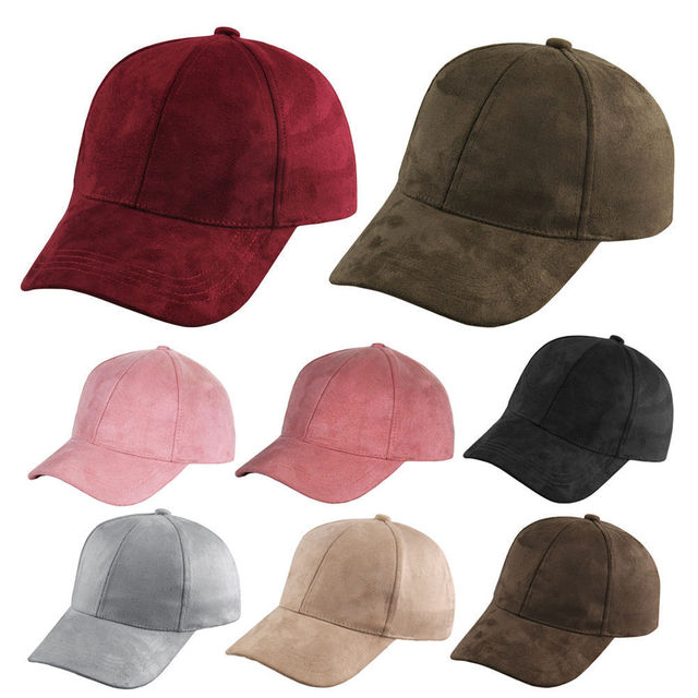 Fashion Women Girls Chic Suede Baseball Cap Solid Sport Visor Hats Adjustable 2
