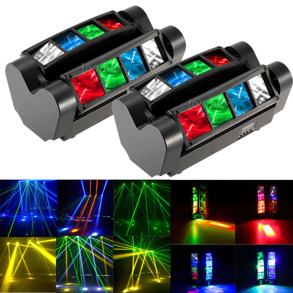 DJ Disco Party 90W RGBW LED DMX512 Sound Activated Auto Running Mini Spider  Stage Beam Light Head Moving Rotatable Effect Lamp