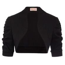 Womens Coat Plain Half Sleeve Cropped Ladies Cardigan Open Stitch Shawl Shrug For Dress недорого