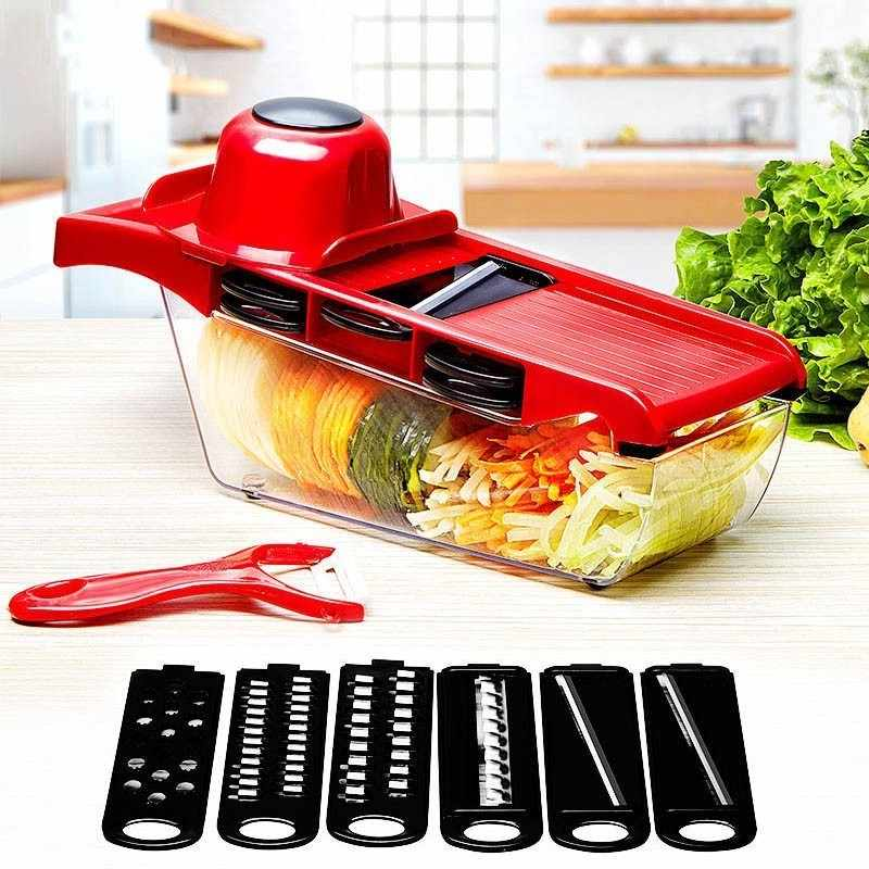 Vegetable Cutter dengan Pisau Baja Mandoline Slicer Pengupas Kentang Wortel Keju Parutan Sayuran Slicer Dapur Aksesoris Alat