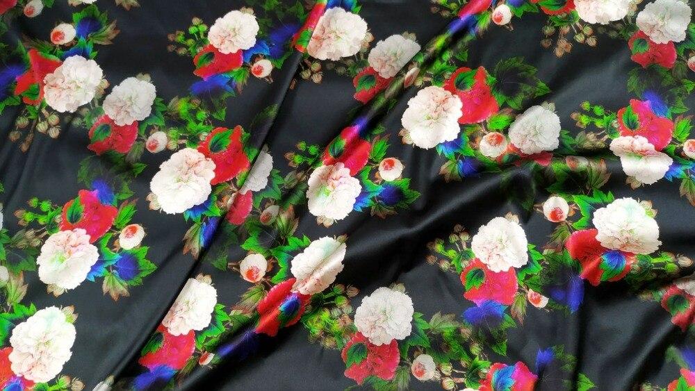 Telas textile sicile pivoine floral fantaisie nancy satin soie tissu pour robe couture tissu japonais tissus au mètre alibaba express