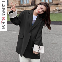 LANMREM 2019 New Fashion Contrast Color Cuff Patchwork Loose Oversize Blazers For Women Spring Large Size Casual Jacket YG563