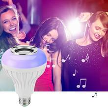 15W E27 LED RGB Bluetooth Music Speaker Bulb Light Lamp With Remote Adjustable light and music volume. Control(China)