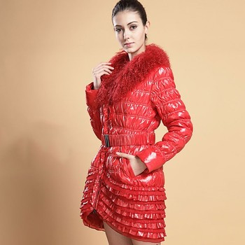 Winter Red Wool Collar Slim Down Jacket Female 2019 New Fashion Cake Skirt White Duck Feather Light And Thin Coat Women HJ128