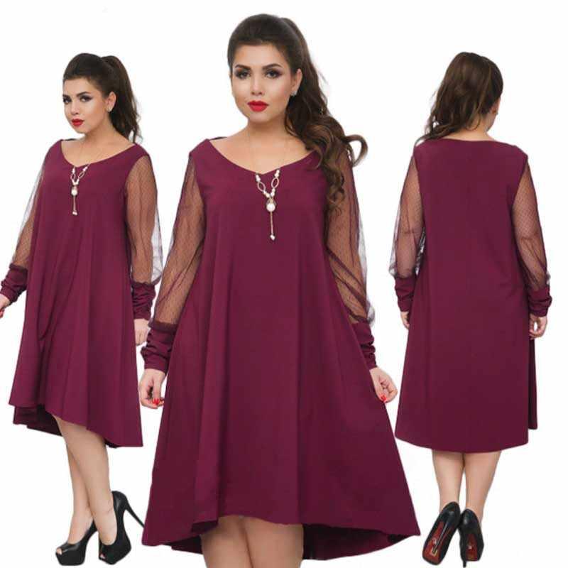 Wisalo, женское платье большого размера, элегантное, для девушек, с длинным рукавом, Сетчатое, в стиле пэчворк, большой размер, для женщин, кружевное, вечерние, модное, Vestidos 6XL
