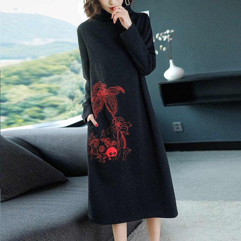 M-4XL grande taille automne et hiver robe dame longues robes de dames
