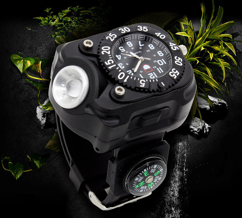 High Bright Tactical Watch Flashlight with Compass Outdoor Sports Waterproof Led USB Charging Wrist Watch Lamp Torch