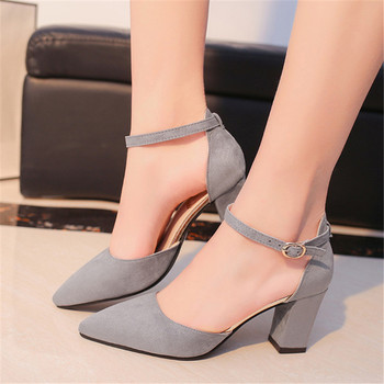 2019 spring wild Female sandals shoes Sexy high heels gray buckle hollow sandals thick with pointed shoes  s011