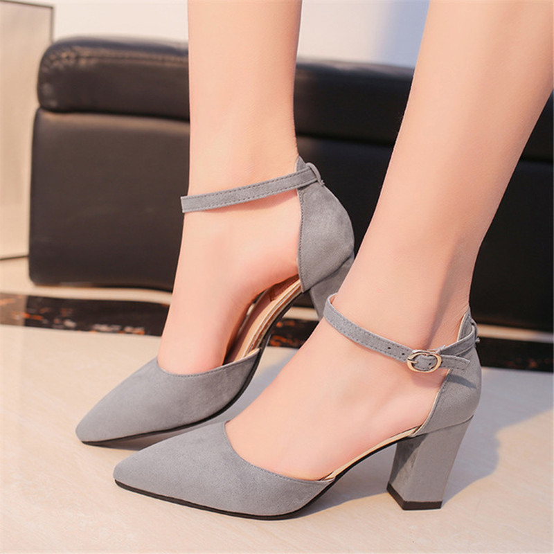 2019 spring wild Female sandals shoes Sexy high heels gray buckle hollow sandals thick with pointed shoes  s0112019 spring wild Female sandals shoes Sexy high heels gray buckle hollow sandals thick with pointed shoes  s011