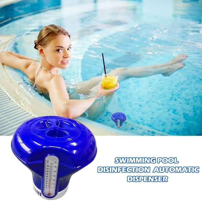 8 Cal z termometrem pływające pigułki pigułki pływający basen dezynfekcji automatyczny aplikator do baseny spa Jacuzzi