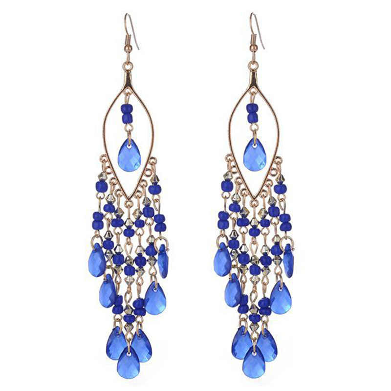 New 1Pair Hot Sale Beads Drop Earring Long Tassel Dangle Exquesite Crystal Women Colorful Bohemian Fashion Jewelry 6 Colors
