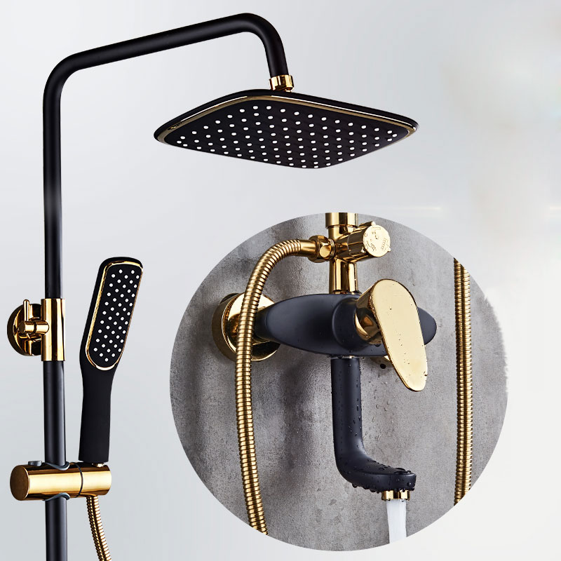 black and gold Shower set occident style mixer tap brass bathroom faucet imitation retro bathroom showerblack and gold Shower set occident style mixer tap brass bathroom faucet imitation retro bathroom shower