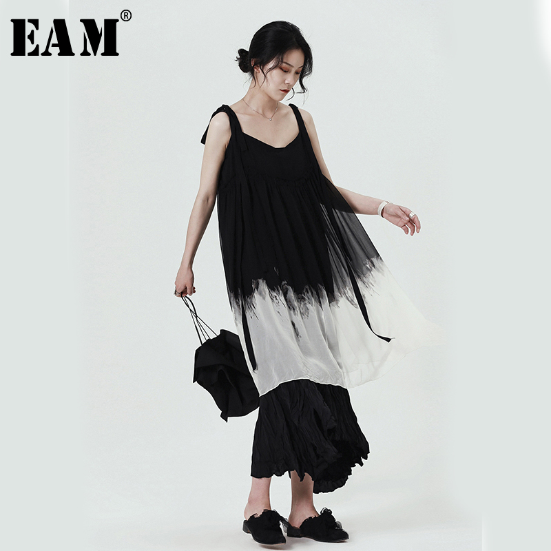 [EAM] 2020 New Spring Summer Spaghetti Strap Gradual Color Loose Hit Color Temperament Chiffon Dress Women Fashion Tide JR509