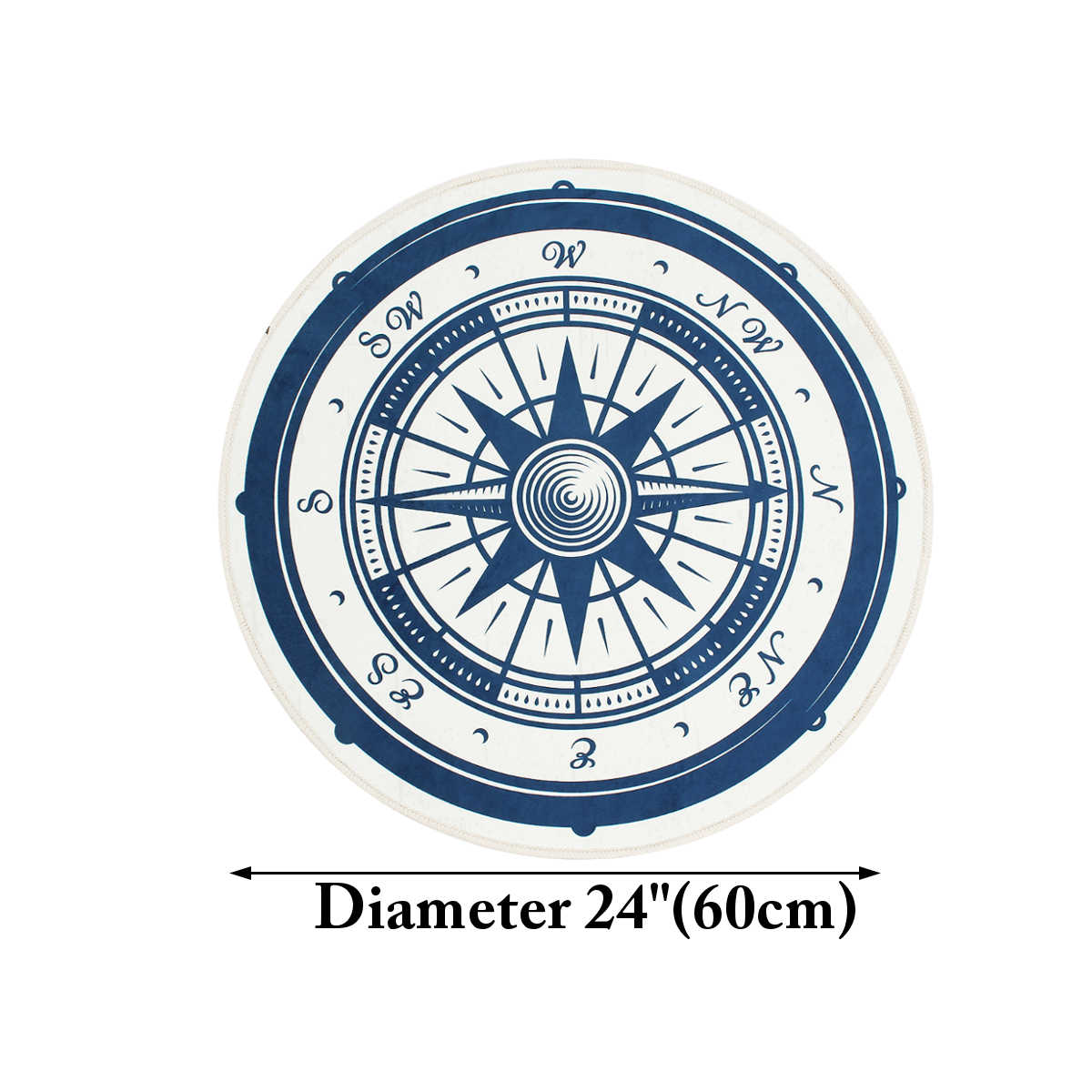 Home Textile Round Door Mat Floor Mat Vintage Nautical Anti Slip Polyester Carpet For Children Bathroom Livingroom Outdoor Rug