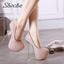 купить Shoche Platform Pink High Heels Women Bling Party Shoes Gold Heels Ladies Sexy Pumps 16cm Extreme Heels Female Shoes Plus Size дешево
