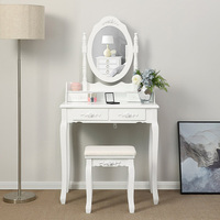 Paulownia MDF Board Multifunctional Dressing Table with Stool European Female Compound White 4 Drawers A Mirror HWC