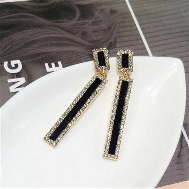 FYUAN Korean Style Geometric Rhinestone Drop Earrings Long Black Rectangle Dangle Earrings for Women Party Jewelry Gift
