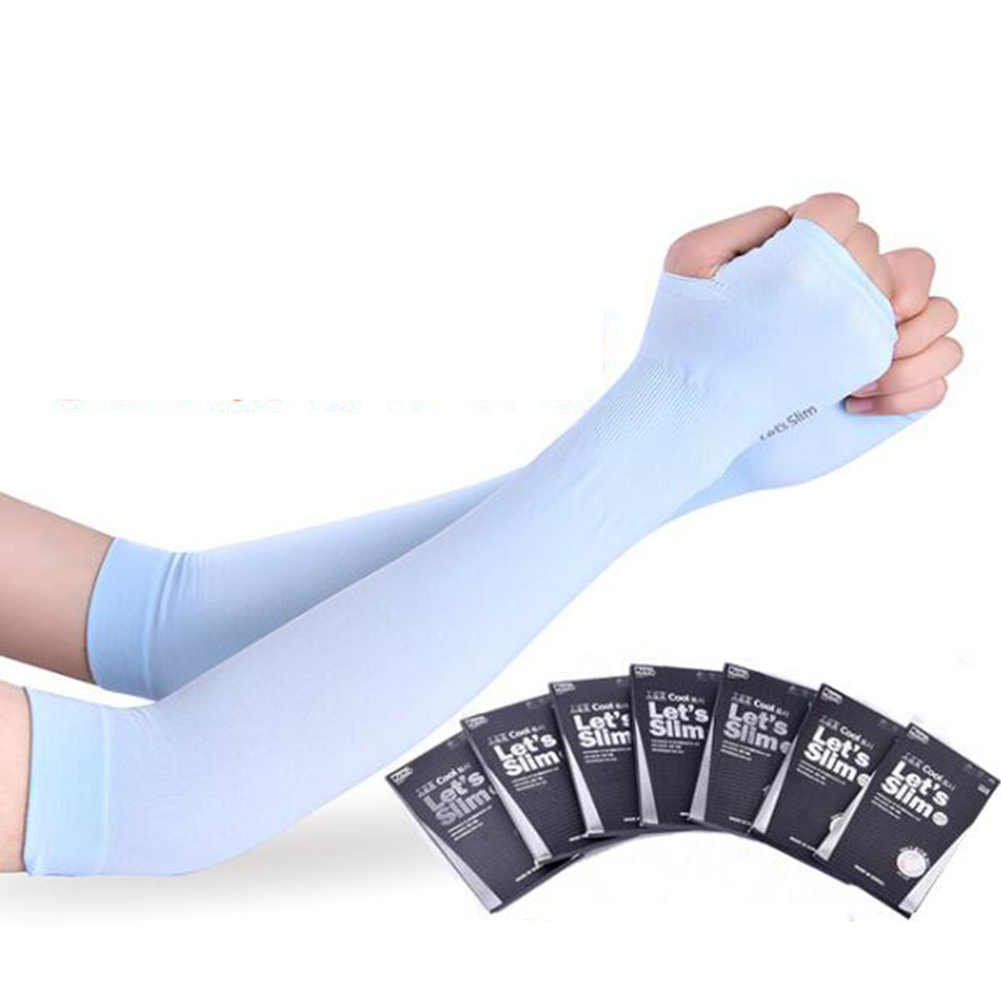 Men's Arm Warmers 1 Pair Long Gloves Hand Protector Cover Arm Sleeves Ice Silk Sunscreen Sleeves Sun Uv Protection Arm Warmer Half Finger Sleeves
