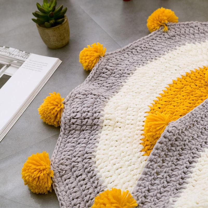 RFWCAK INS bébé infantile jouer tapis enfants ramper tapis plancher tapis literie couverture tissé à la main jeu Pad enfants chambre décor 80 CM - 3