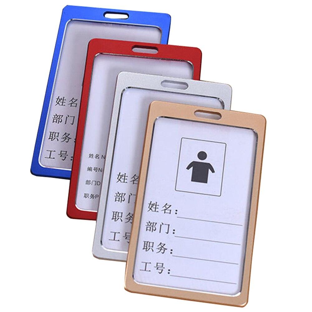 1 Pc Hohe Qualität Aluminium Legierung Visitenkarte Halter Frauen Männer Gold/silber Vertikale Arbeit Name Abzeichen Protector Fällen Für Karten VerrüCkter Preis