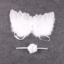 Mode Pasgeboren Baby Kids Feather Lace Hoofdband & Angel Wings Bloemen Foto Props Pasgeboren Fotografie Rekwisieten(China)