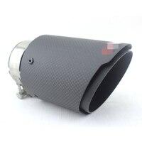 1pcs Carbon Fiber Mattle Black Exhaust Tips Muffler Black Stainless Steel Inlet 63mm Outlet 101mm Universal