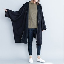 Women Bat Sleeved Loose Outerwear Female Cotton Thin Black Coats Spring Autumn Casual Hooded Long Trench