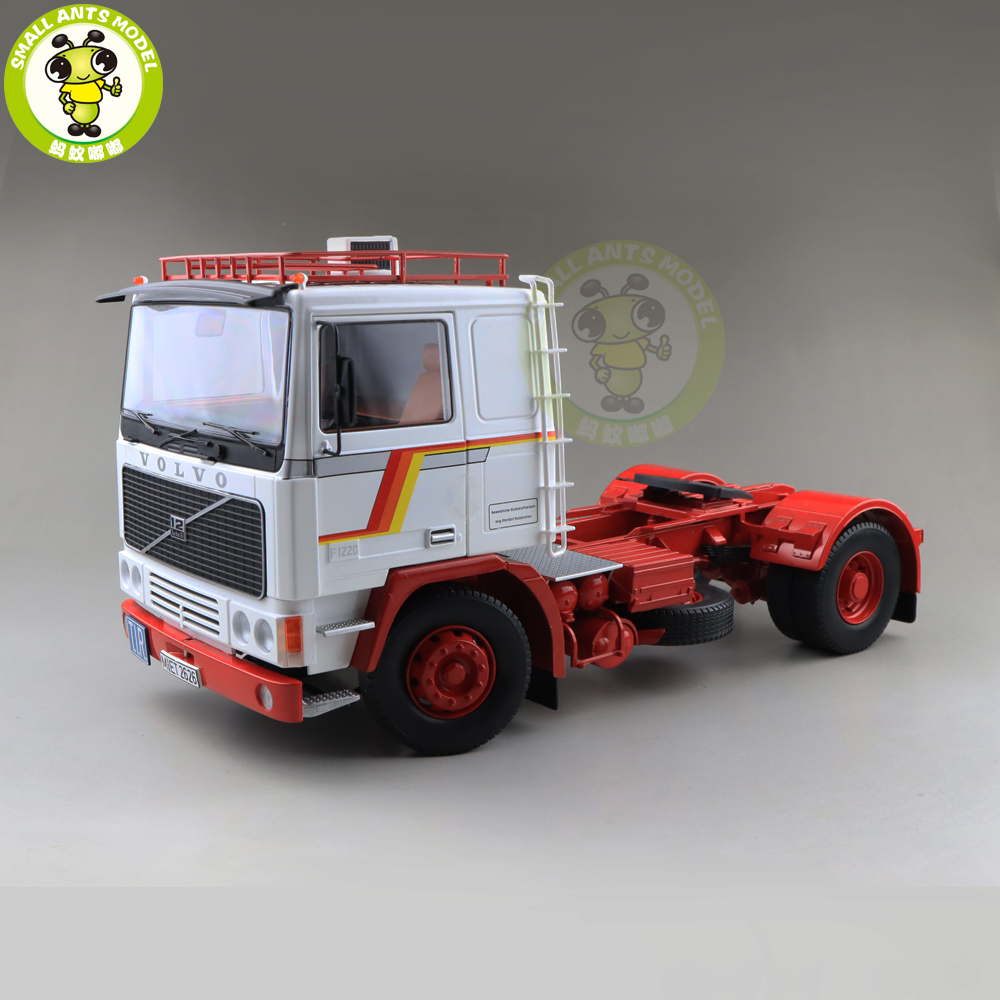 1/18 ROAD KINGS KK Volvo F1220 Tractor Truck 1977 Diecast Car Truck Model Toys for kids Gift White and Red