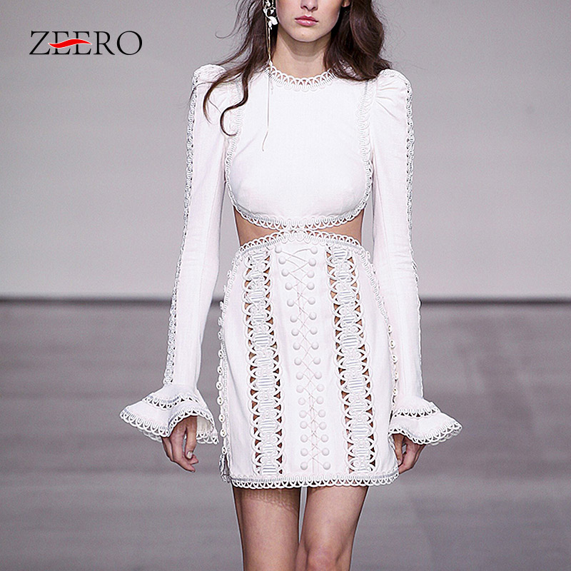 High Quality Runway Lace Mini Dress Spring Women Sexy Vintage Embroidered Hollow Out Flare Sleeved Holiday