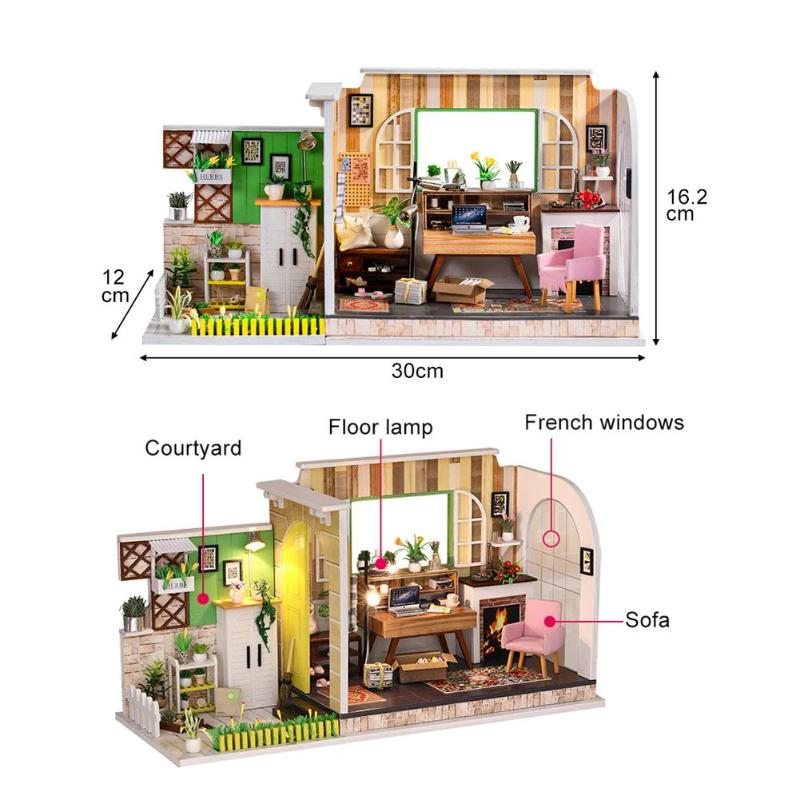 Modern Miniature Doll House 3D Wooden Dollhouse With Pool Furniture For Girls